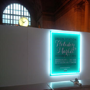 neon frame to highlight sign at Union Station Toronto, Ontario