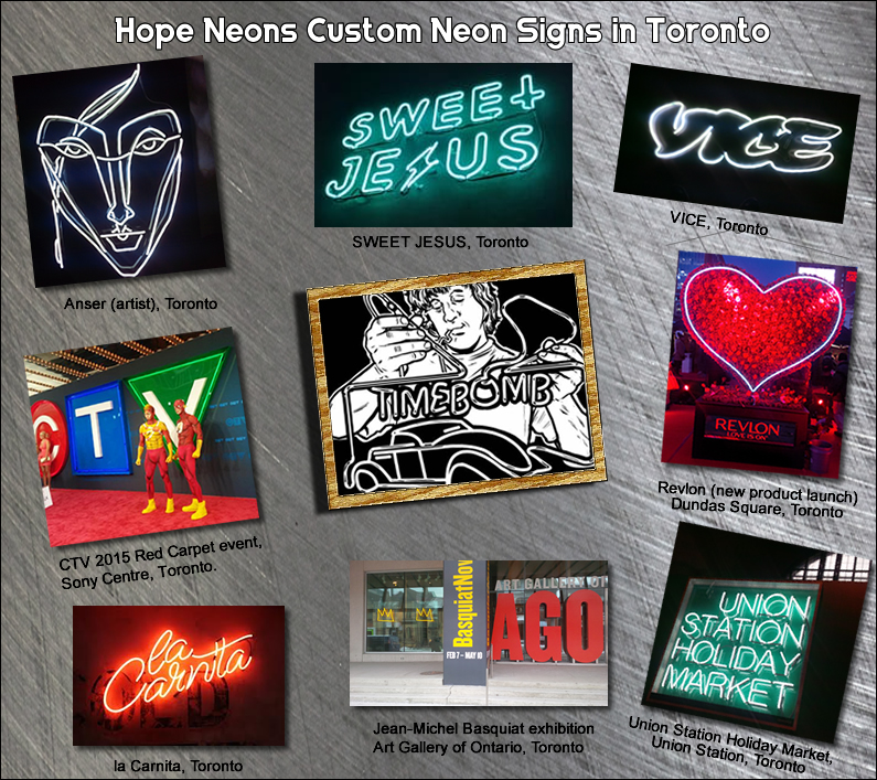 Custom neon signs in Toronto.  Custom neon signs look great in our storefront, lobby garage or bar
